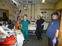 Robbin, Autumn, Jen, and Sean ready to work a simulated cardiac arrest in the old ER.